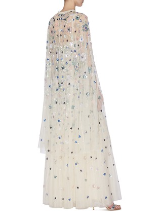 Back View - Click To Enlarge - NEEDLE & THREAD - 'Wildflower' sequin embroidered midaxi cape