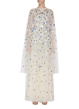 Main View - Click To Enlarge - NEEDLE & THREAD - 'Wildflower' sequin embroidered midaxi cape