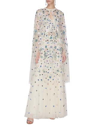 Figure View - Click To Enlarge - NEEDLE & THREAD - 'Wildflower' sequin embroidered midaxi cape