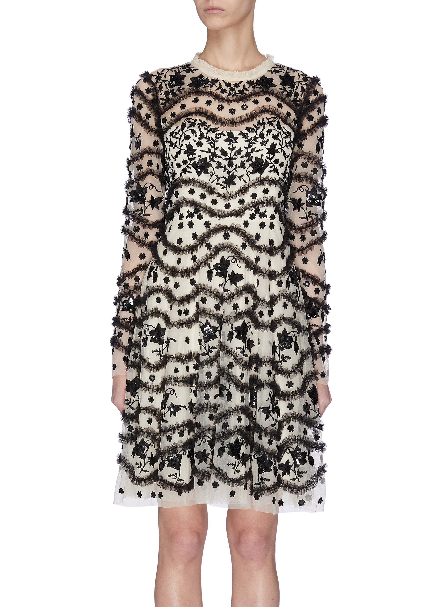 Buy Needle & Thread Dresses 'Bloom' sequin embroidered ruffle dress