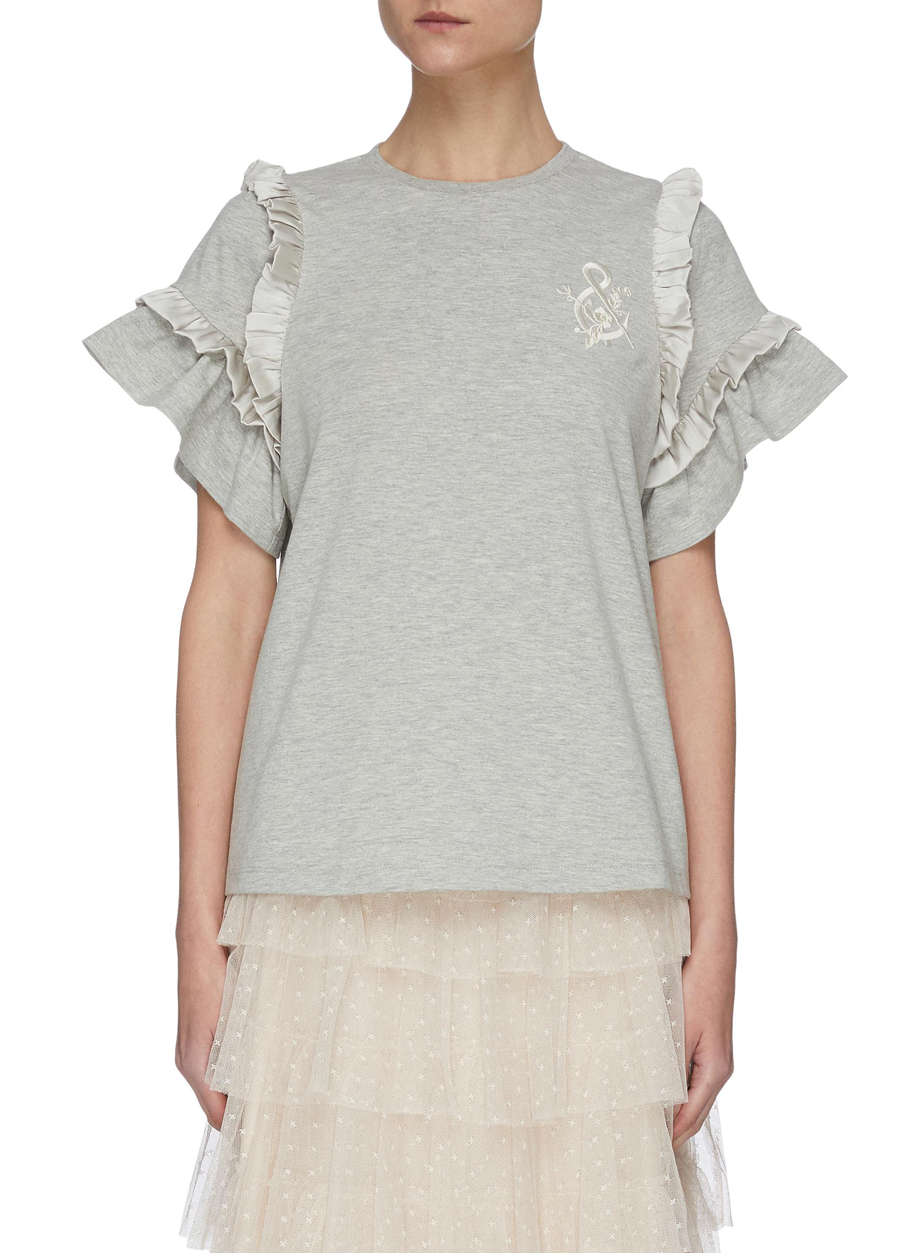 Buy Needle & Thread Tops 'Lara' logo embroidered ruffle T-shirt