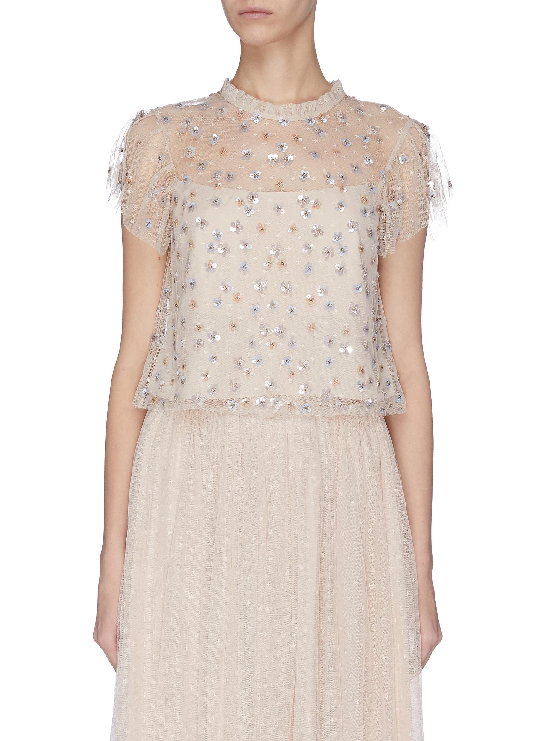 shop Needle & Thread 'Glimmer' sequin embroidered sheer ruffle top online