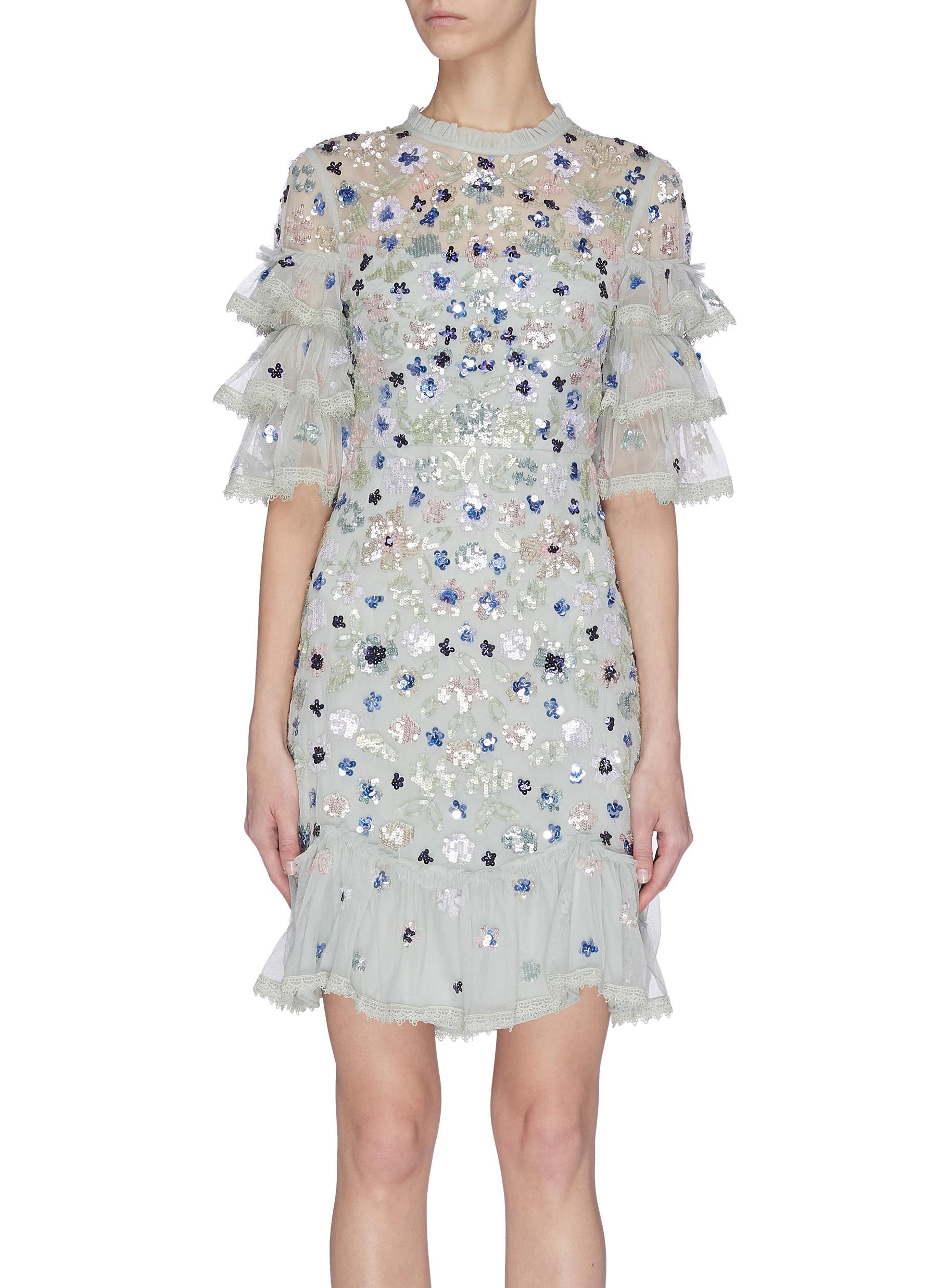Buy Needle & Thread Dresses 'Meadow' sequin embroidered ruffle mini dress