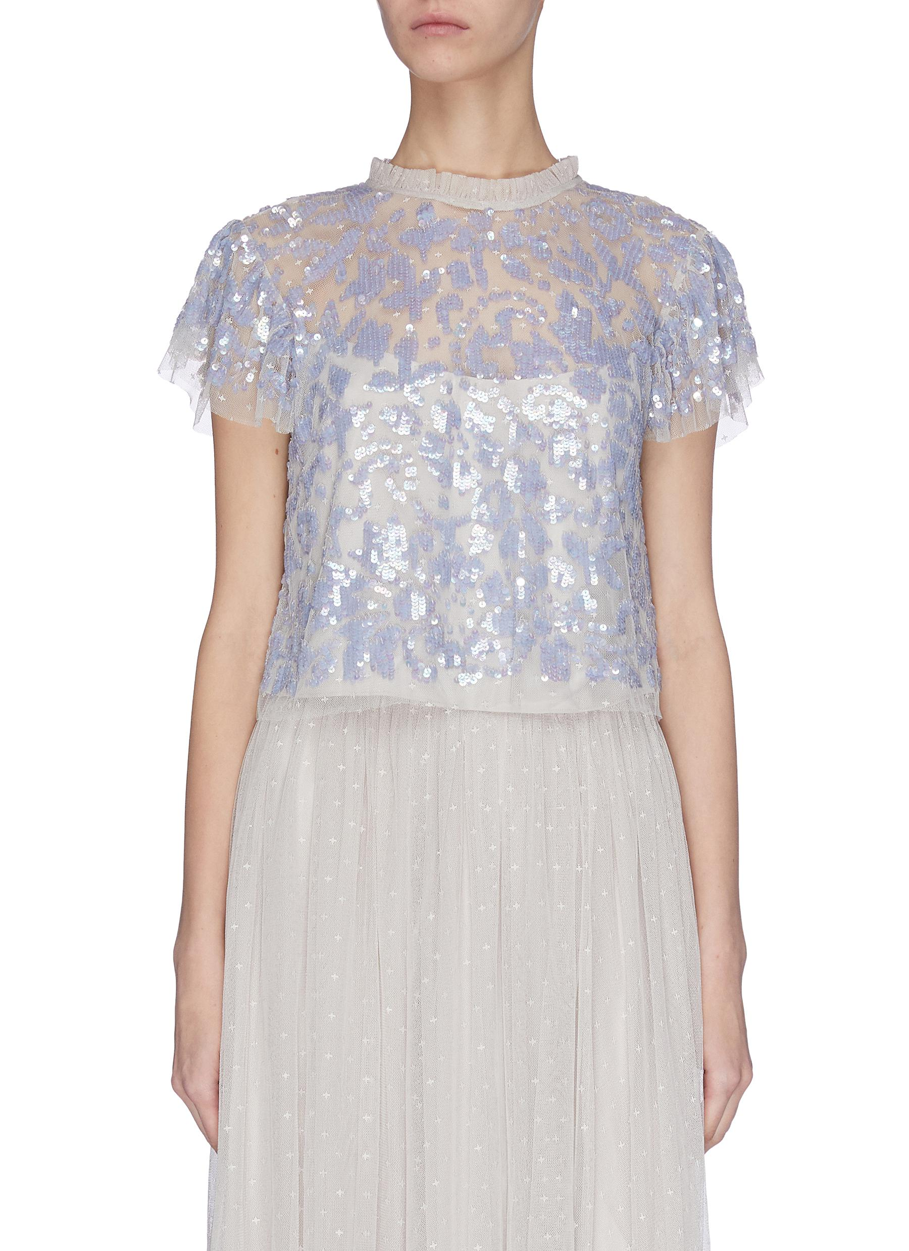 Buy Needle & Thread Tops 'Tempest' sequin embroidered short sleeve sheer top