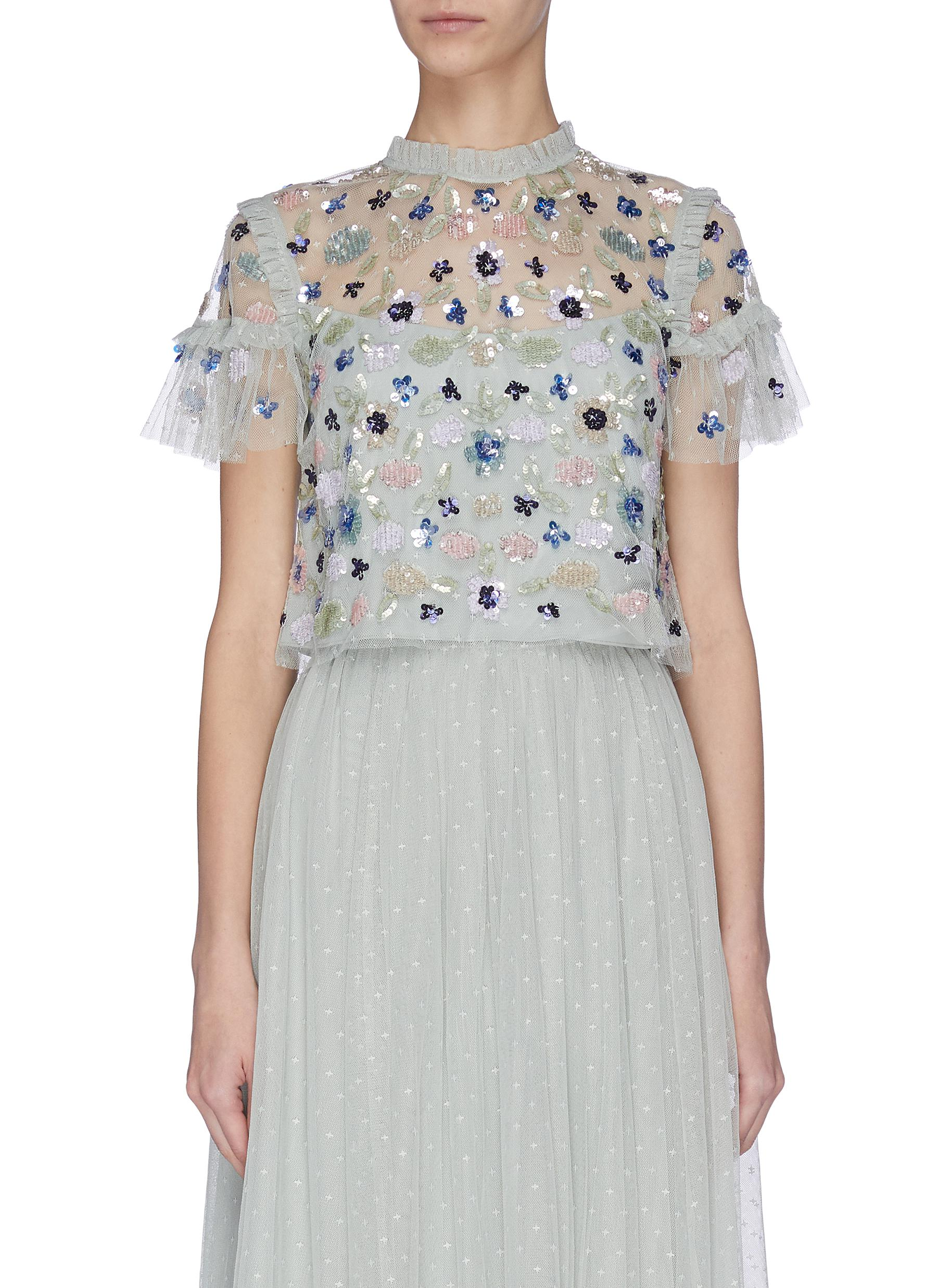 Buy Needle & Thread Tops 'Meadow' sequin embroidered ruffle sheer top