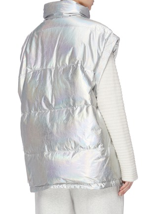 Back View - Click To Enlarge - ARMY BY YVES SALOMON - Metallic lambskin leather puffer vest