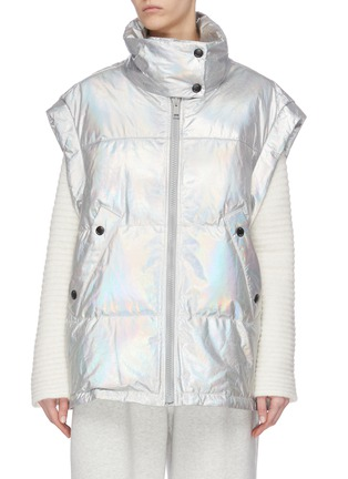 Main View - Click To Enlarge - ARMY BY YVES SALOMON - Metallic lambskin leather puffer vest
