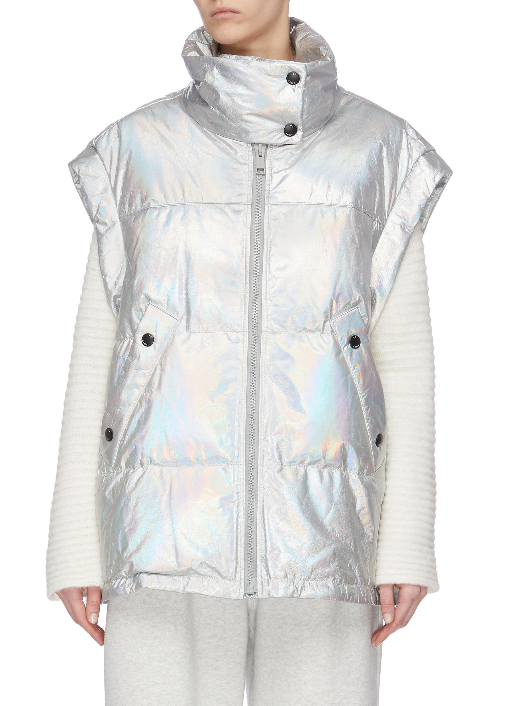 shop Army By Yves Salomon Metallic lambskin leather puffer vest online