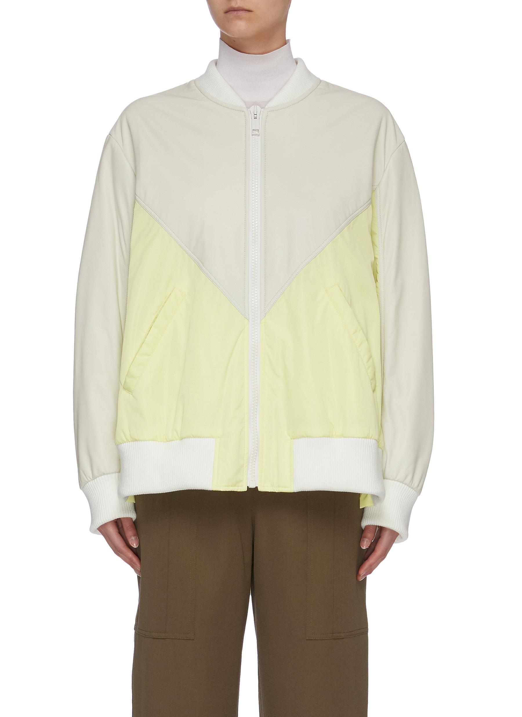 Buy Army By Yves Salomon Jackets Colourblock lambskin leather nylon jacket