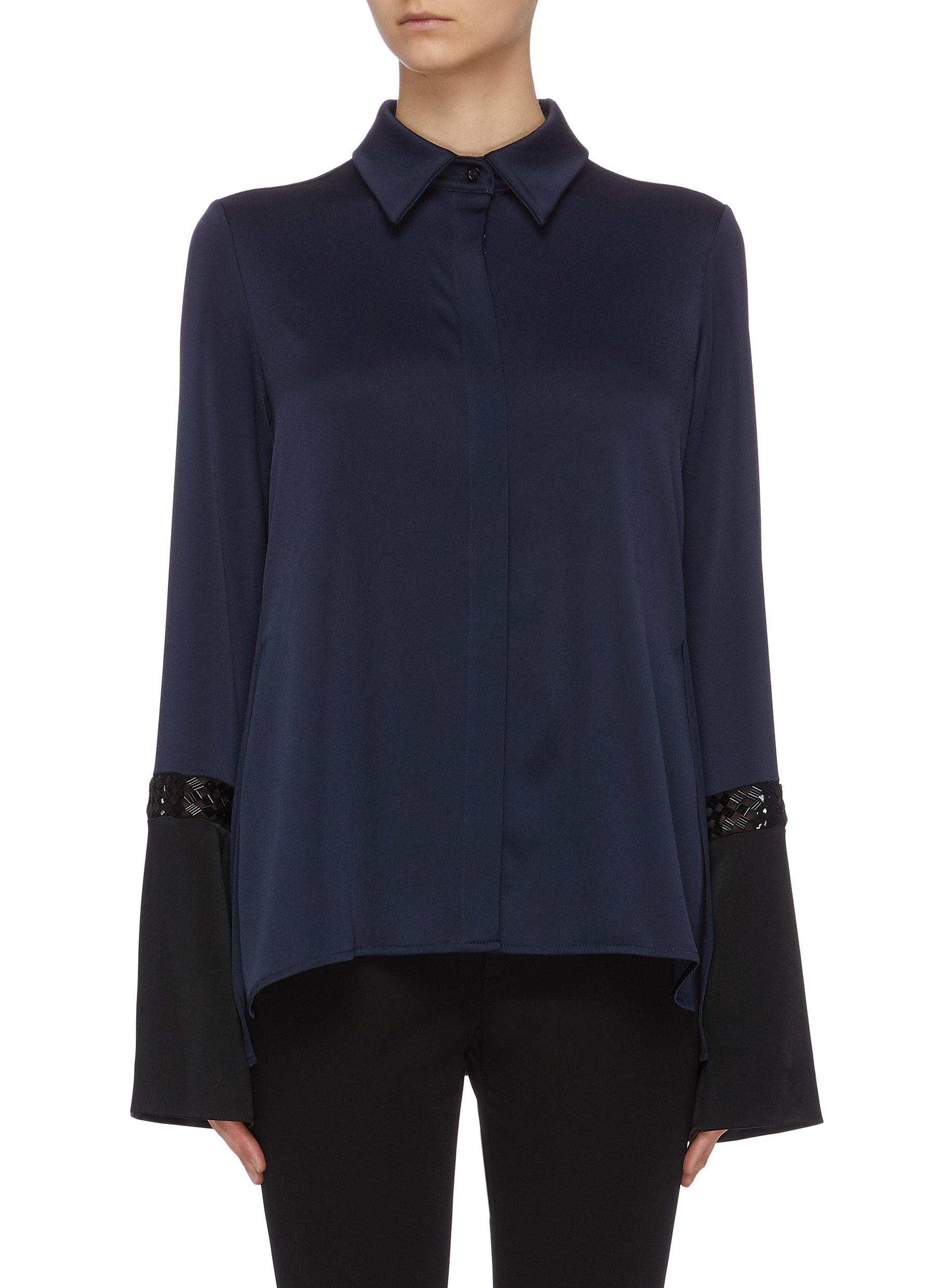 Buy Galvan London Tops Contrast sleeves beaded shirt