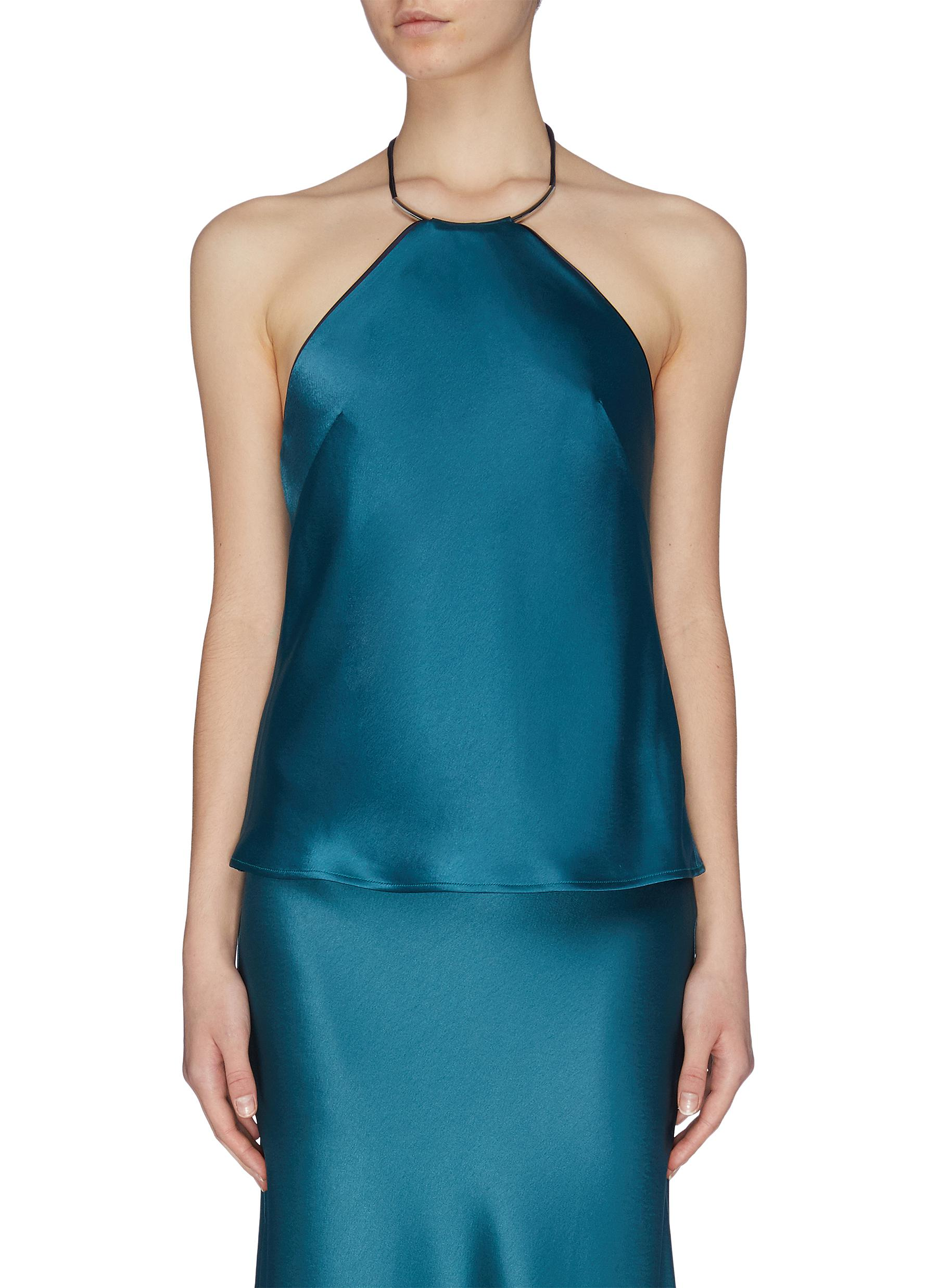 Buy Galvan London Tops Sleeveless satin halterneck top