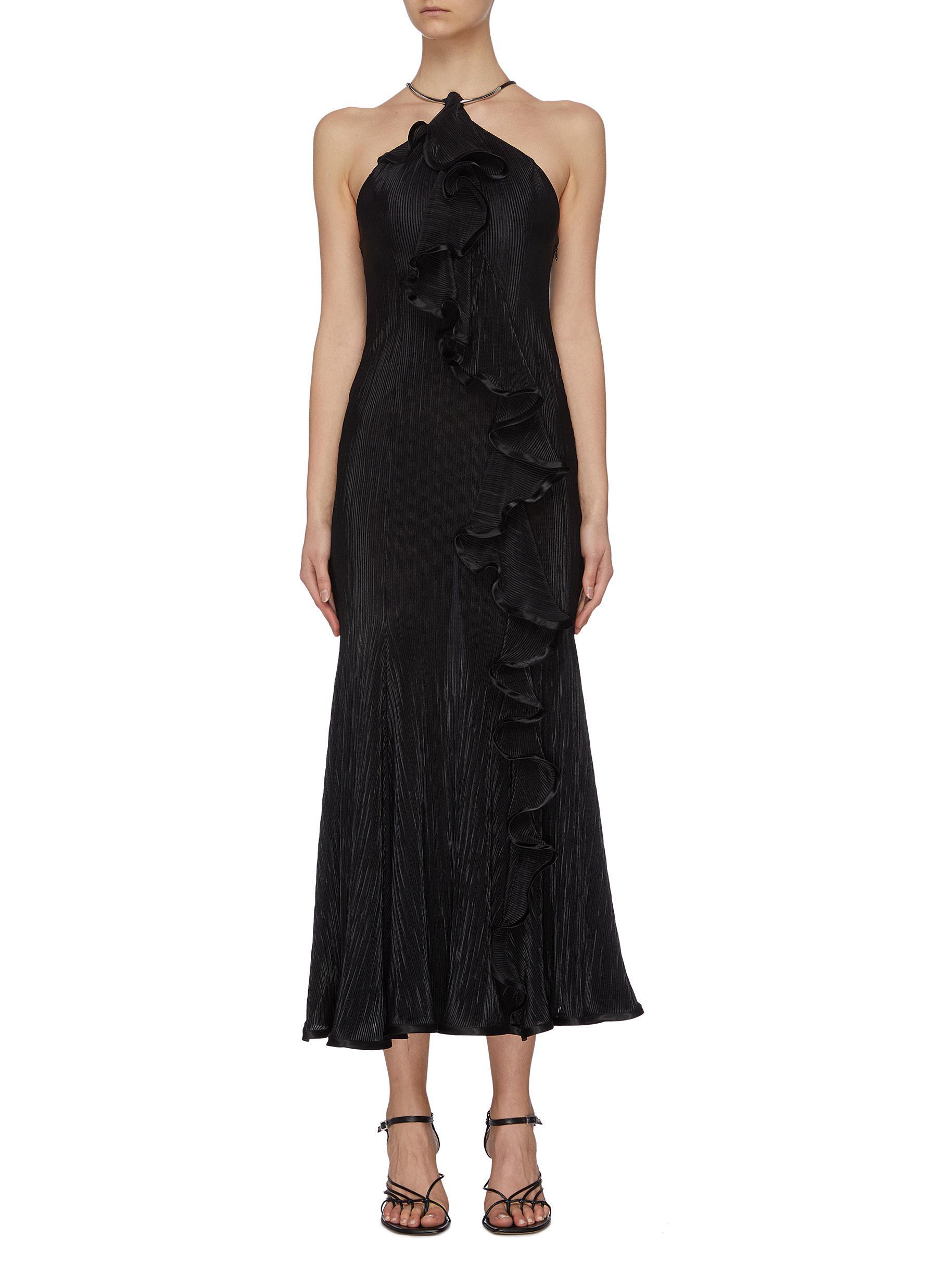 Buy Galvan London Dresses 'Pirouette' pleated ruffle midi dress