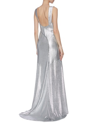Back View - Click To Enlarge - GALVAN LONDON - 'Releve' asymmetric ruffle hem maxi dress