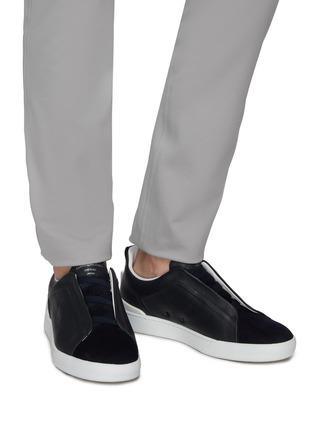 XXX triple stitch suede sneakers