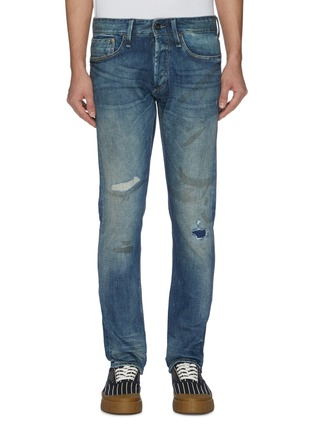 Main View - Click To Enlarge - DENHAM - 'Razor' rip-and-repair washed slim jeans
