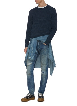 Figure View - Click To Enlarge - DENHAM - 'Razor' rip-and-repair washed slim jeans