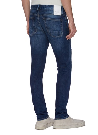 Back View - Click To Enlarge - DENHAM - 'Bolt' rip-and-repair ombre skinny jeans