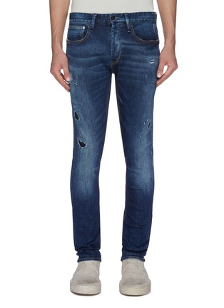 Main View - Click To Enlarge - DENHAM - 'Bolt' rip-and-repair ombre skinny jeans