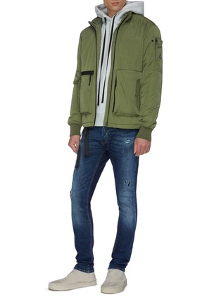 Figure View - Click To Enlarge - DENHAM - 'Bolt' rip-and-repair ombre skinny jeans