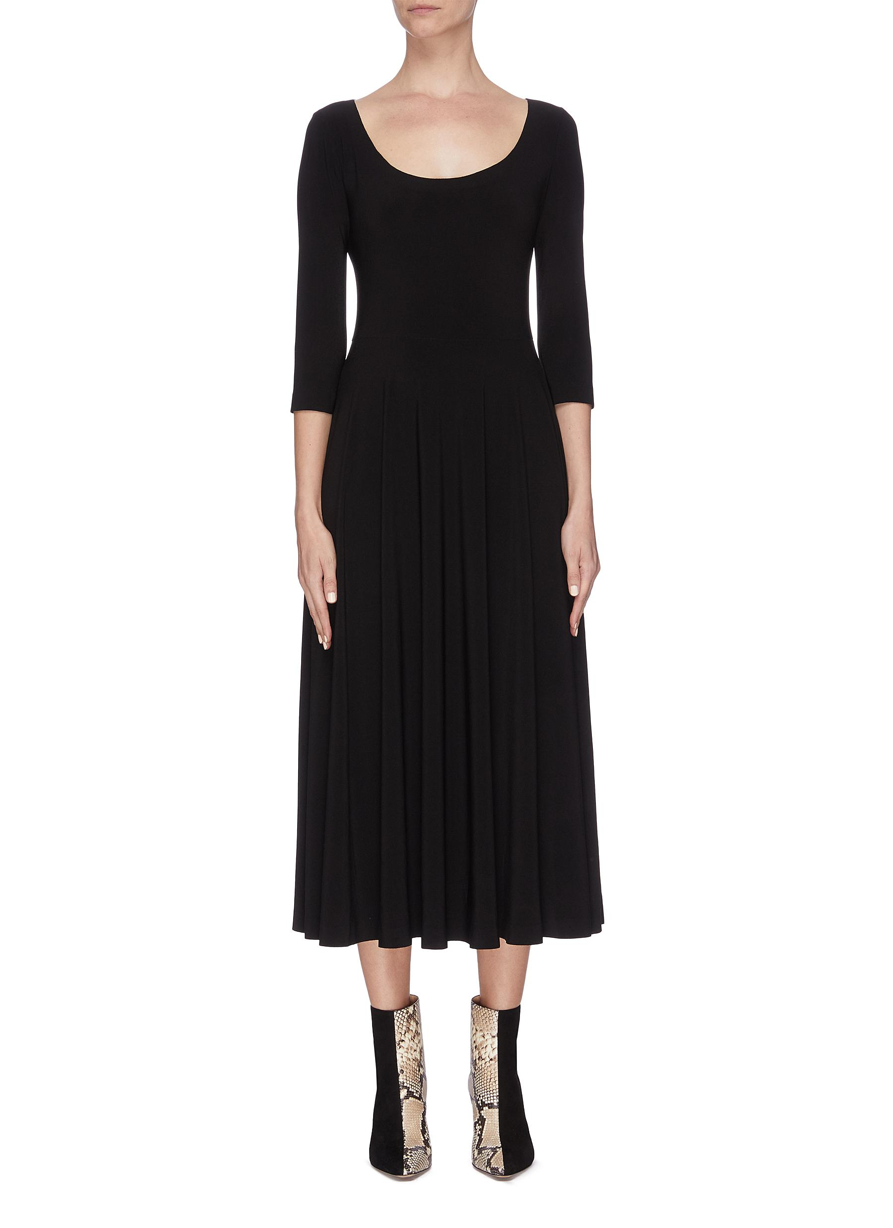shop Norma Kamali Scoop neck flare dress online