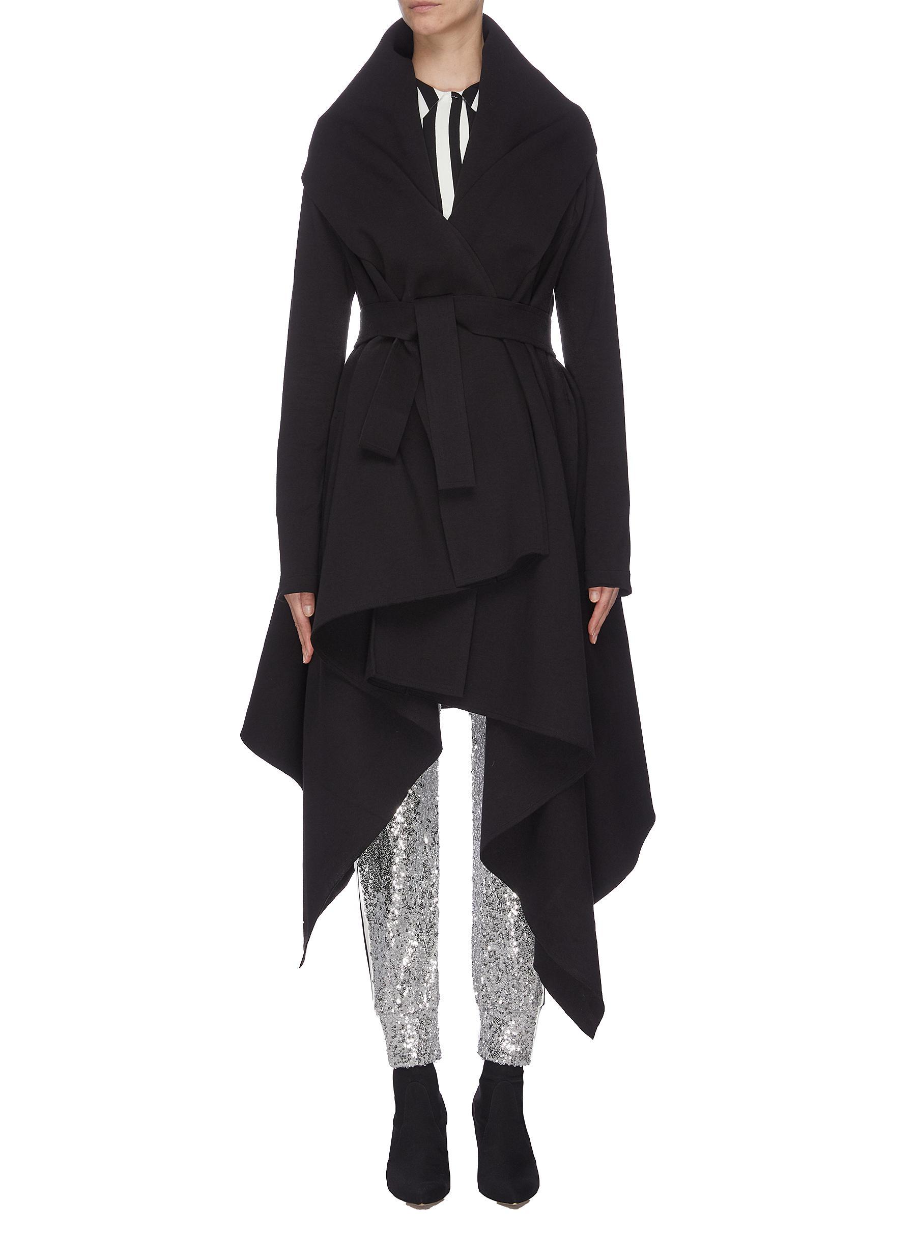 shop Norma Kamali Belted asymmetric draped robe coat online