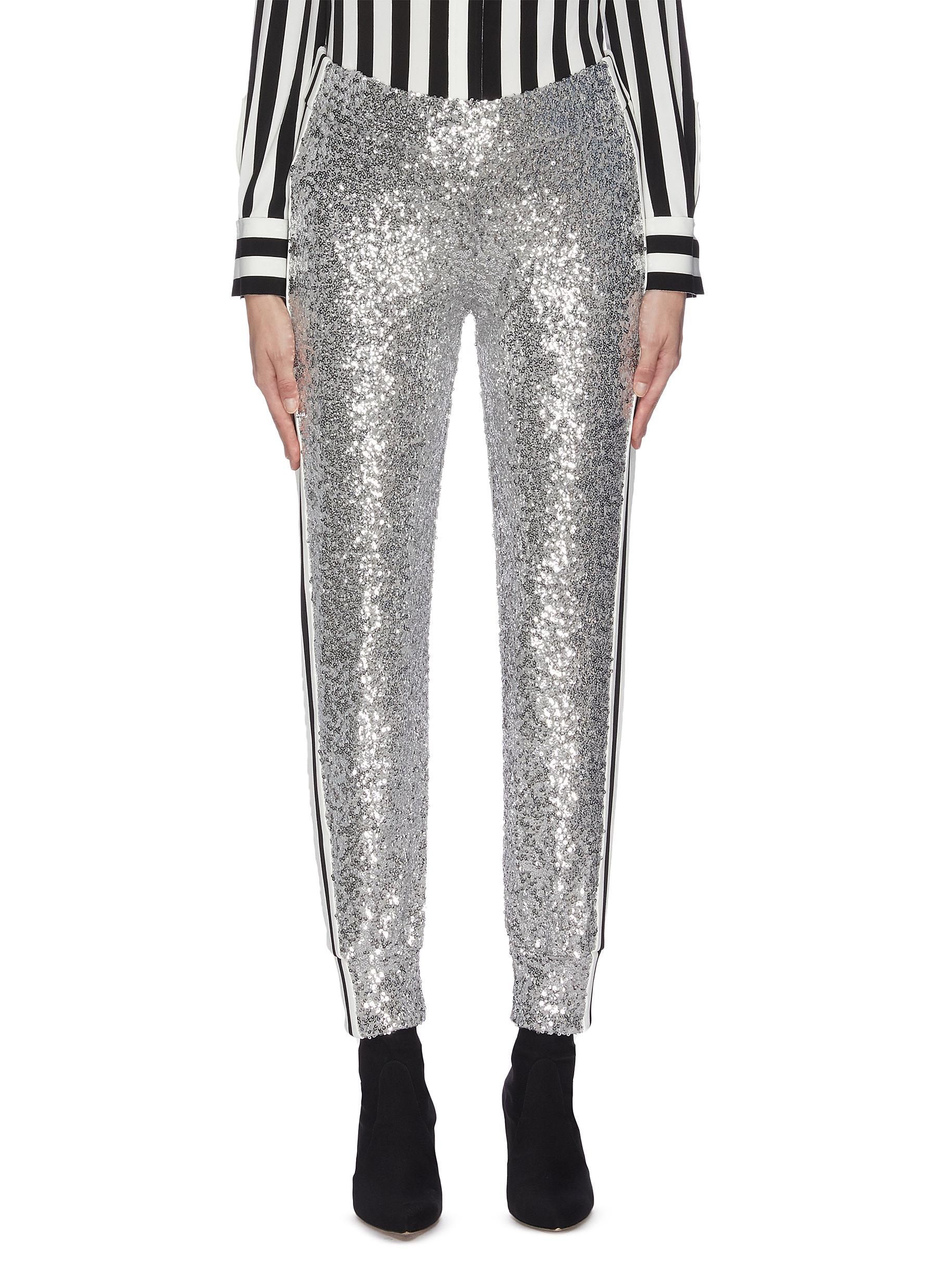 shop Norma Kamali Stripe outseam sequin embellished jogging pants online