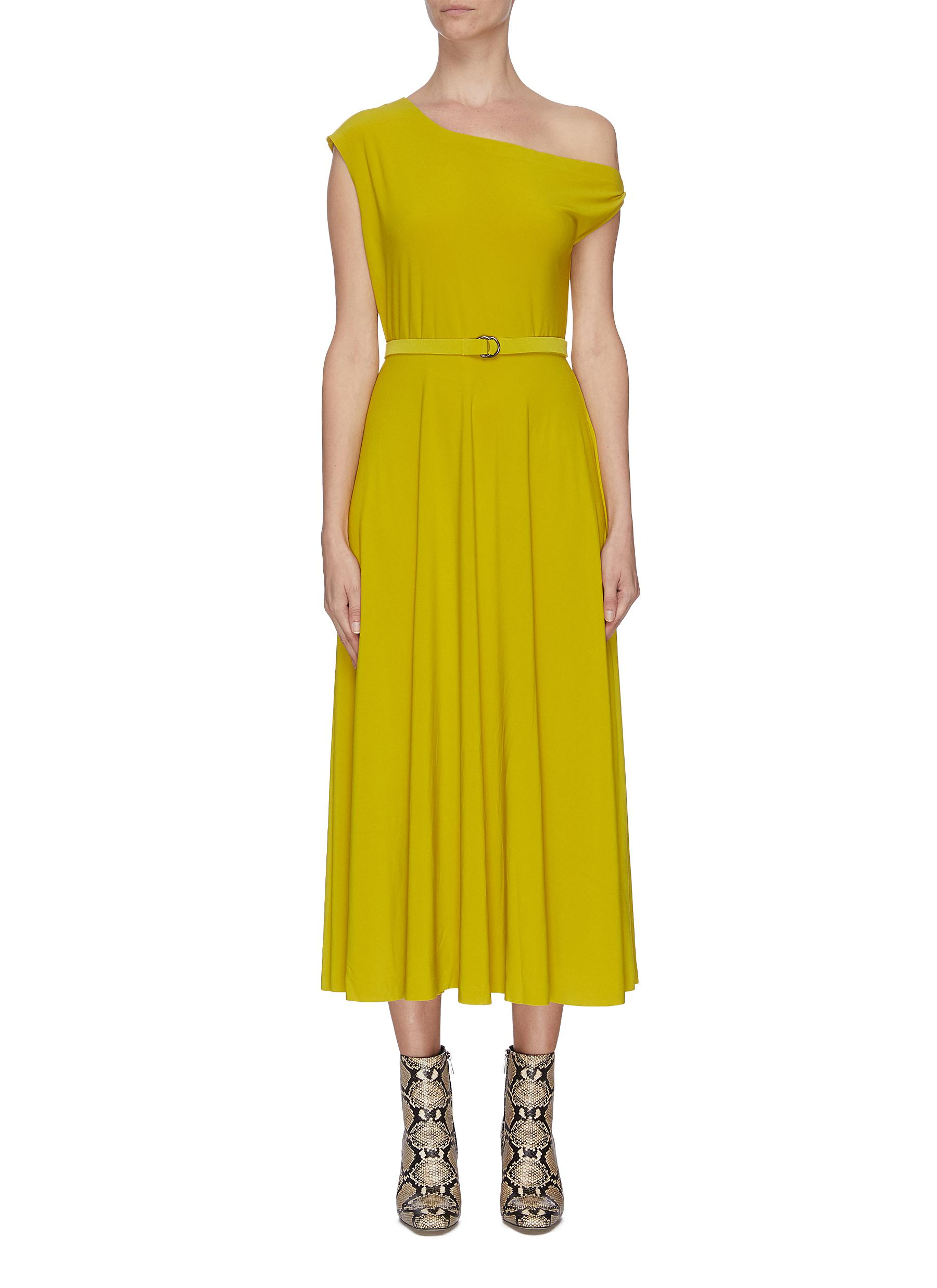 shop Norma Kamali Drop shoulder belted flared dress online