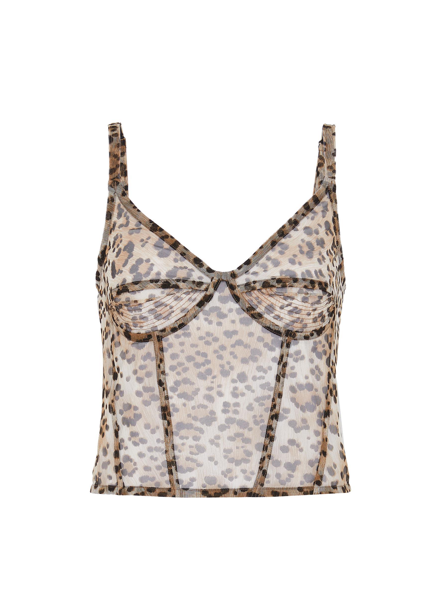 shop R13 Leopard print sleeveless corset cami top online