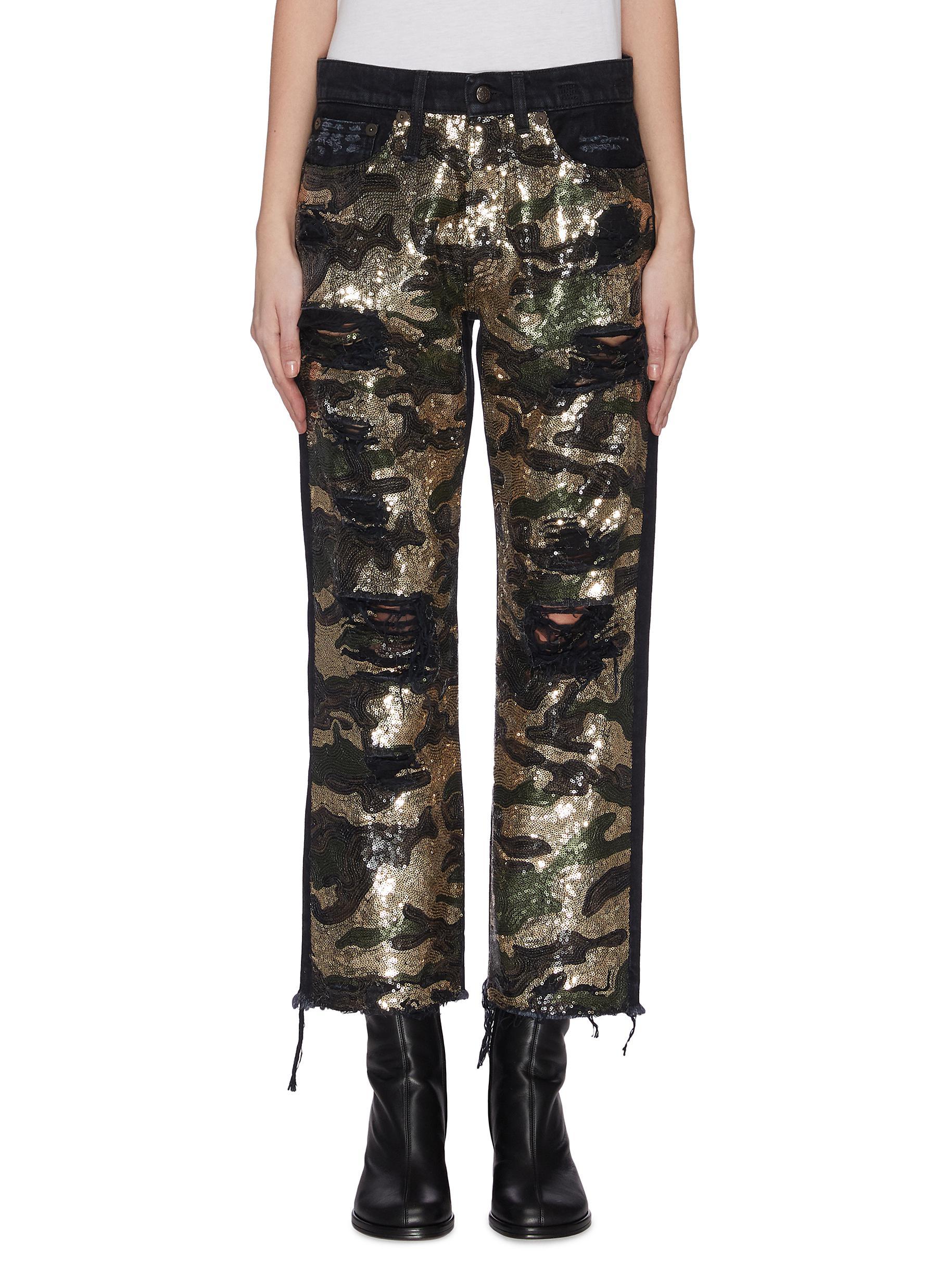 shop R13 Camo sequin boyfriend jeans online