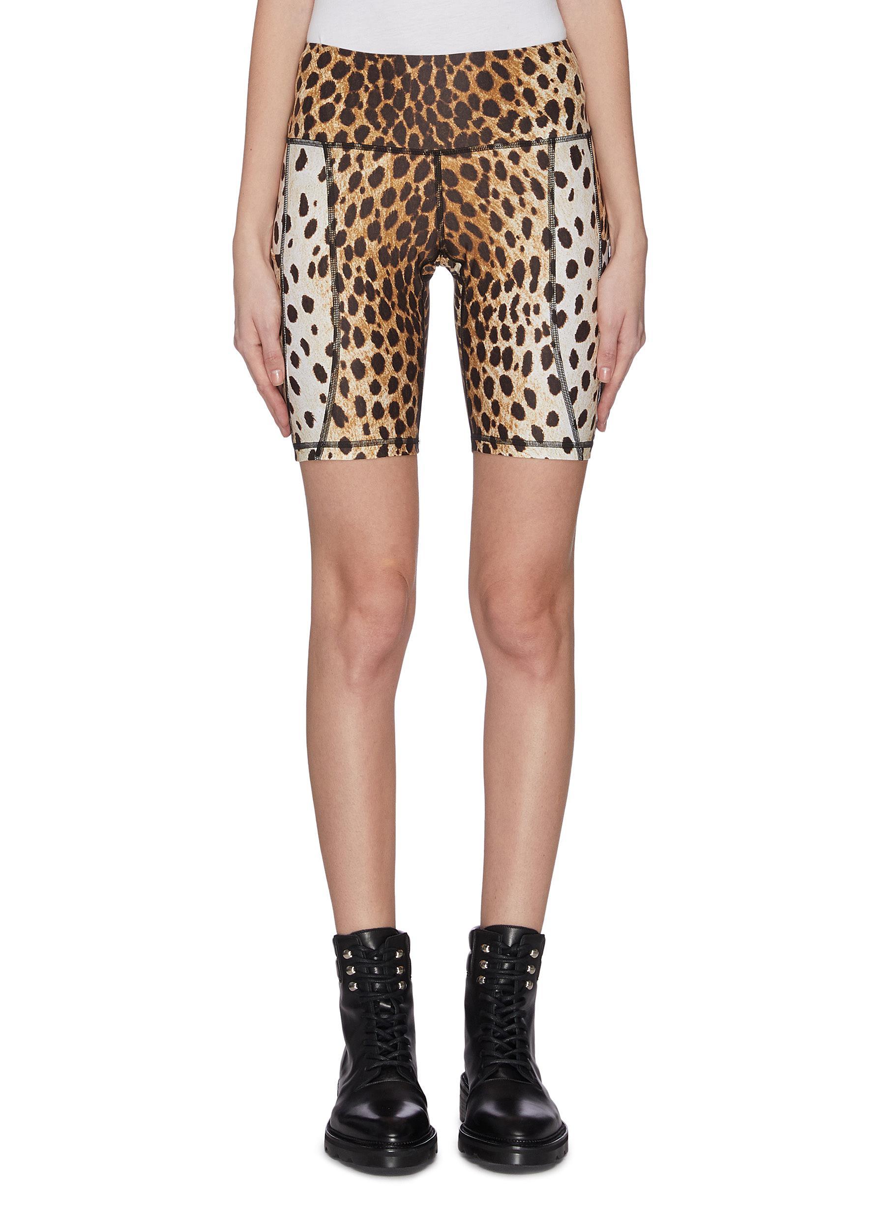 shop R13 Leopard print engineered biker shorts online