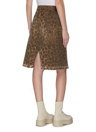 Back View - Click To Enlarge - R13 - 'Norbury' leopard print split hem denim skirt