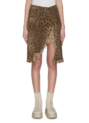 Main View - Click To Enlarge - R13 - 'Norbury' leopard print split hem denim skirt