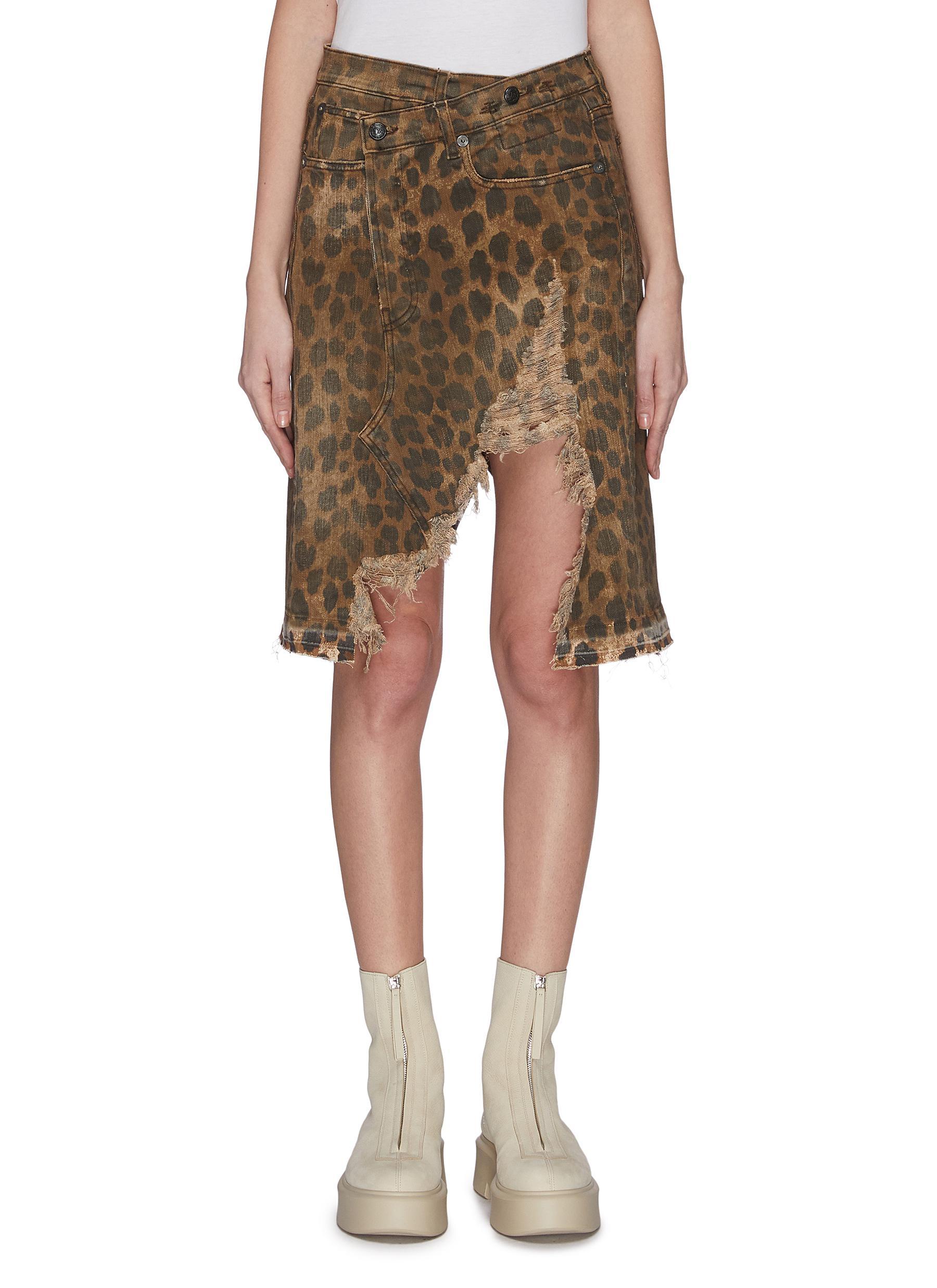 Buy R13 Skirts 'Norbury' leopard print split hem denim skirt