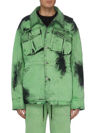 Main View - Click To Enlarge - FENG CHEN WANG - Acid wash chest pocket denim jacket