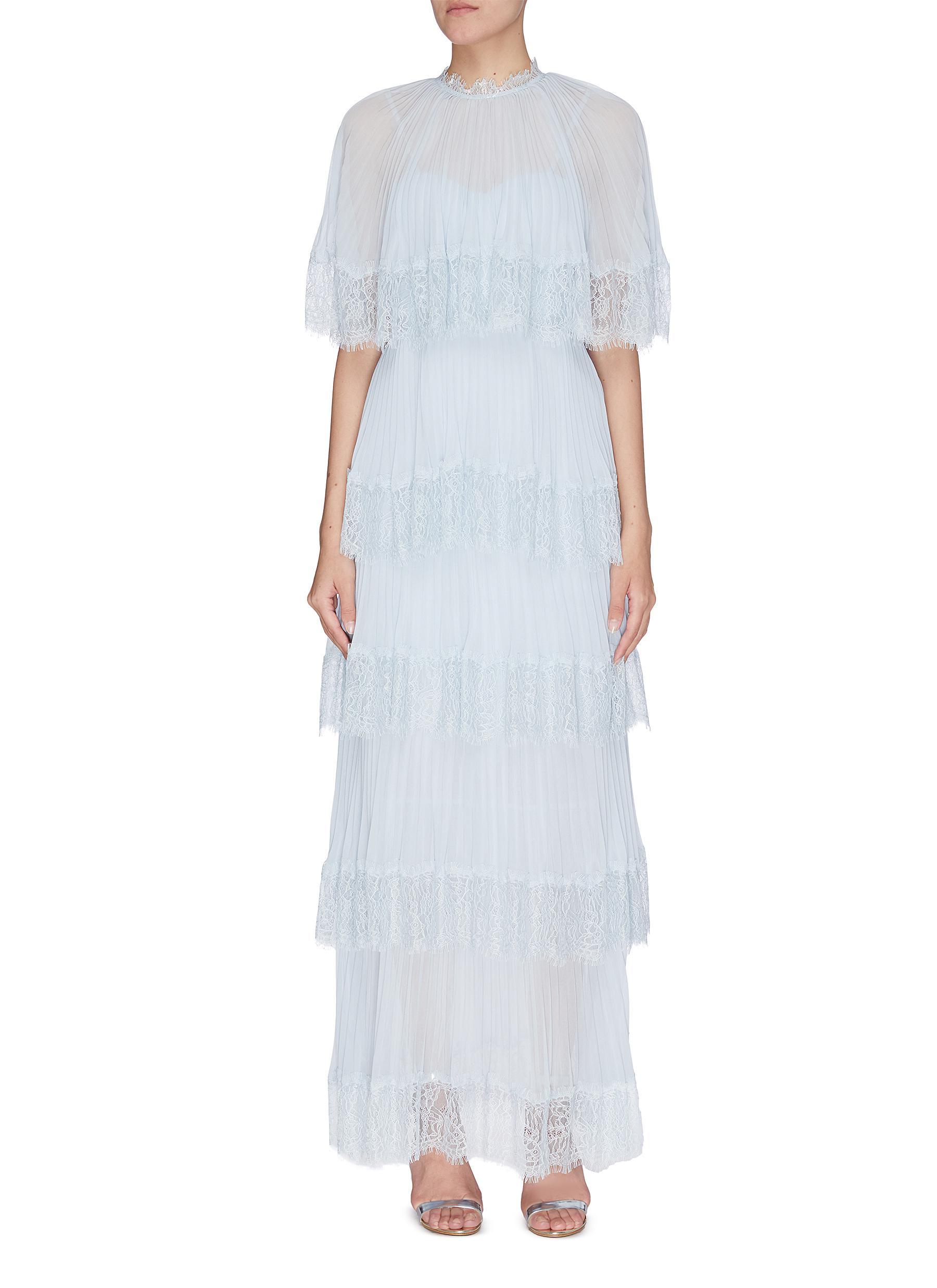 shop Self-Portrait Cape lace trim ruffle tiered plissé gown online