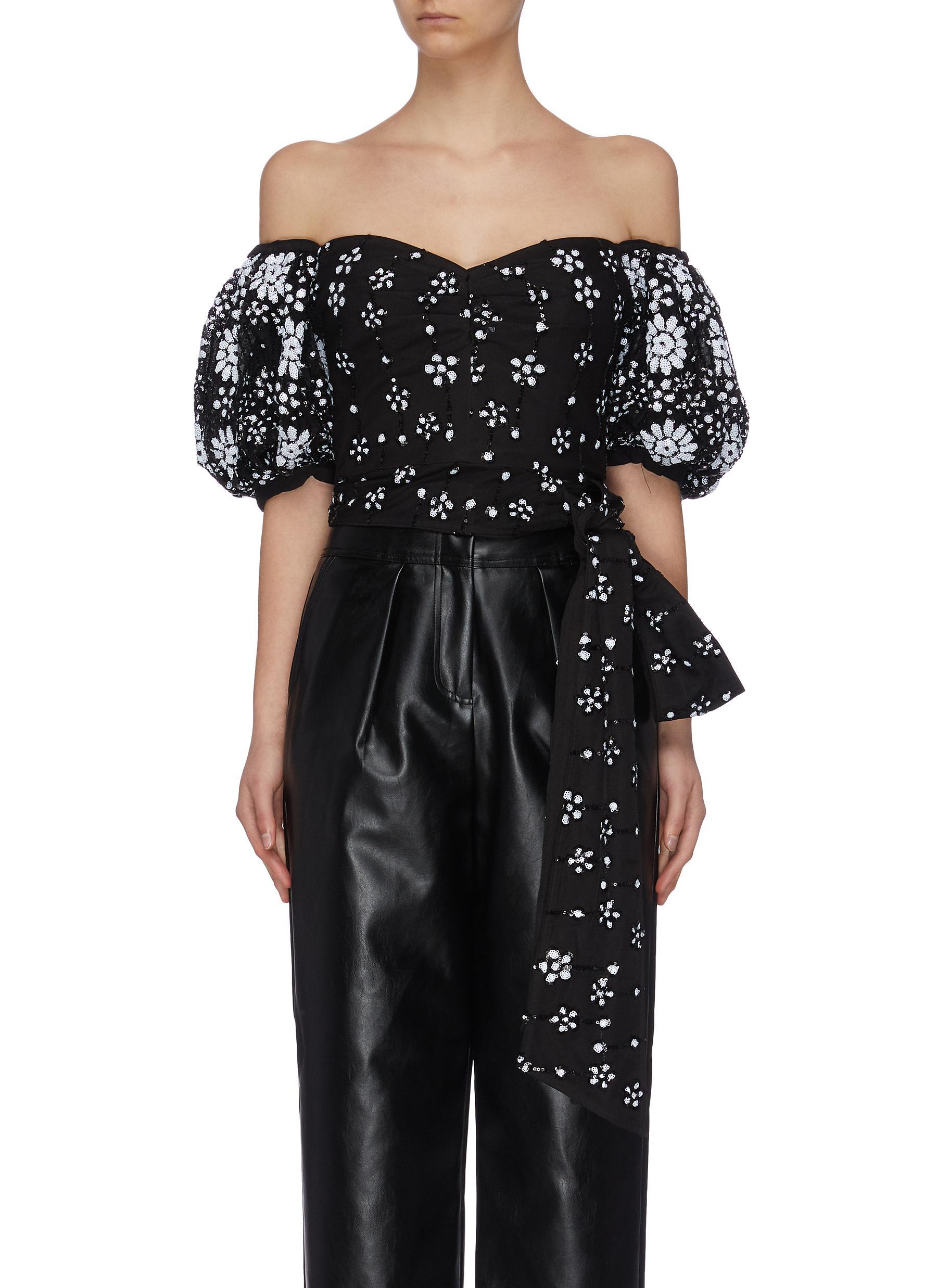"shop Self-Portrait ""Deco' sequin embellished mesh puff sleeve drop shoulder top online"