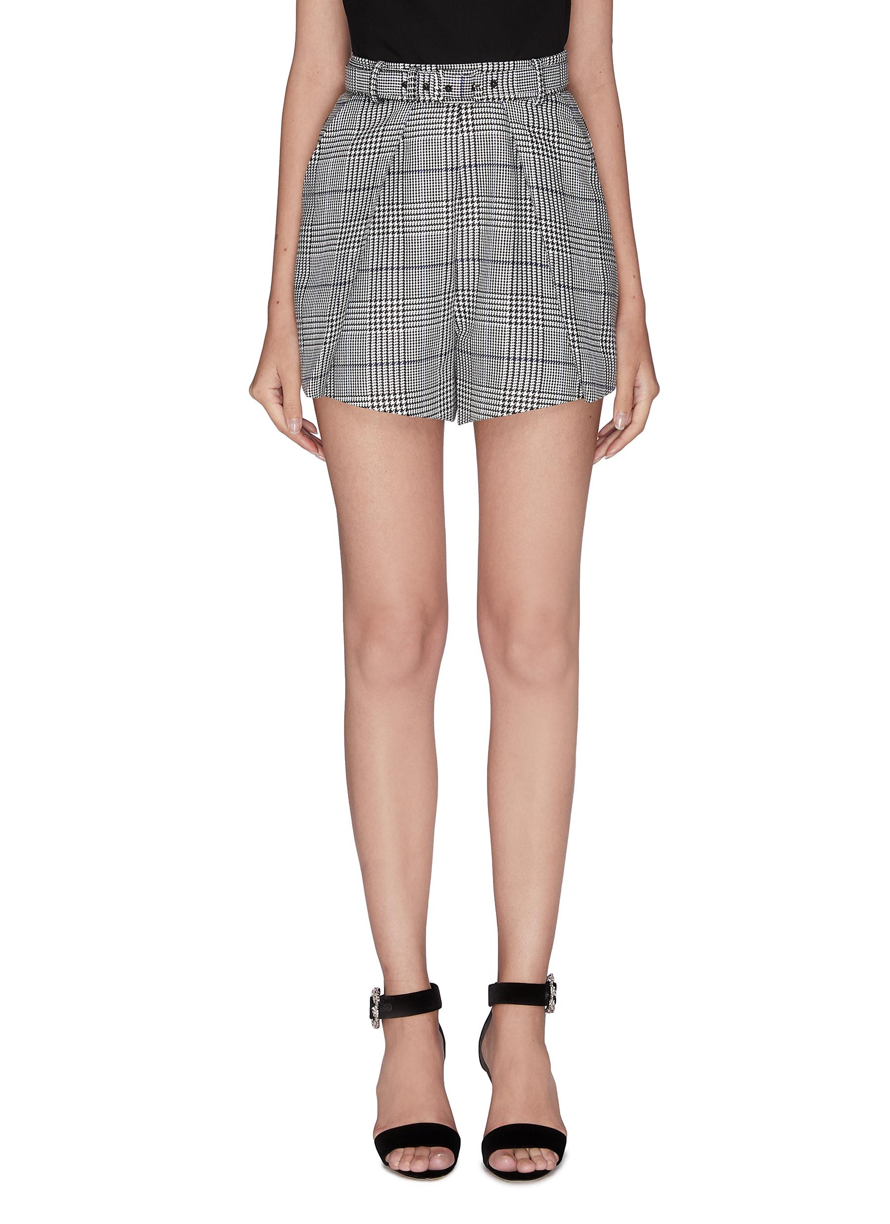 shop Self-Portrait Belted pleated houndstooth check shorts online