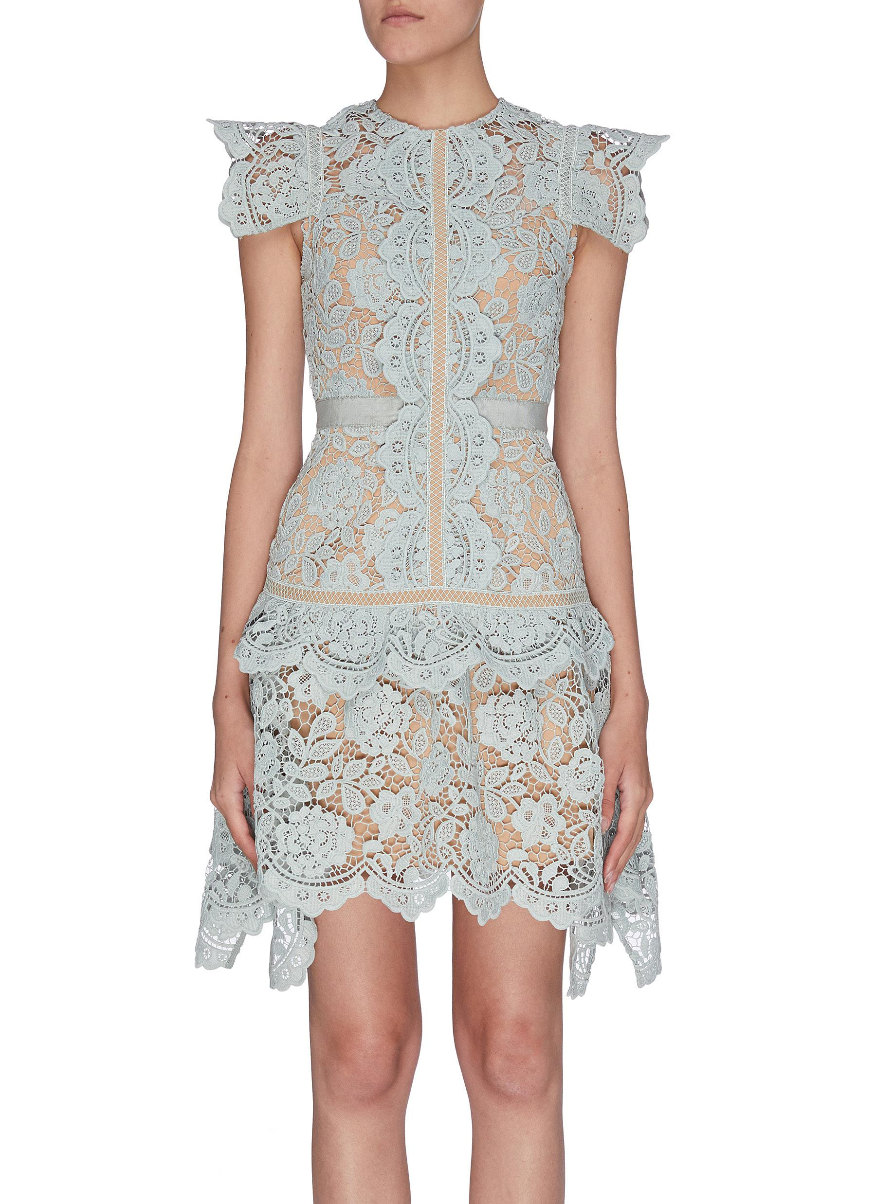 Buy Self-Portrait Dresses Floral embroidered guipure lace midi dress