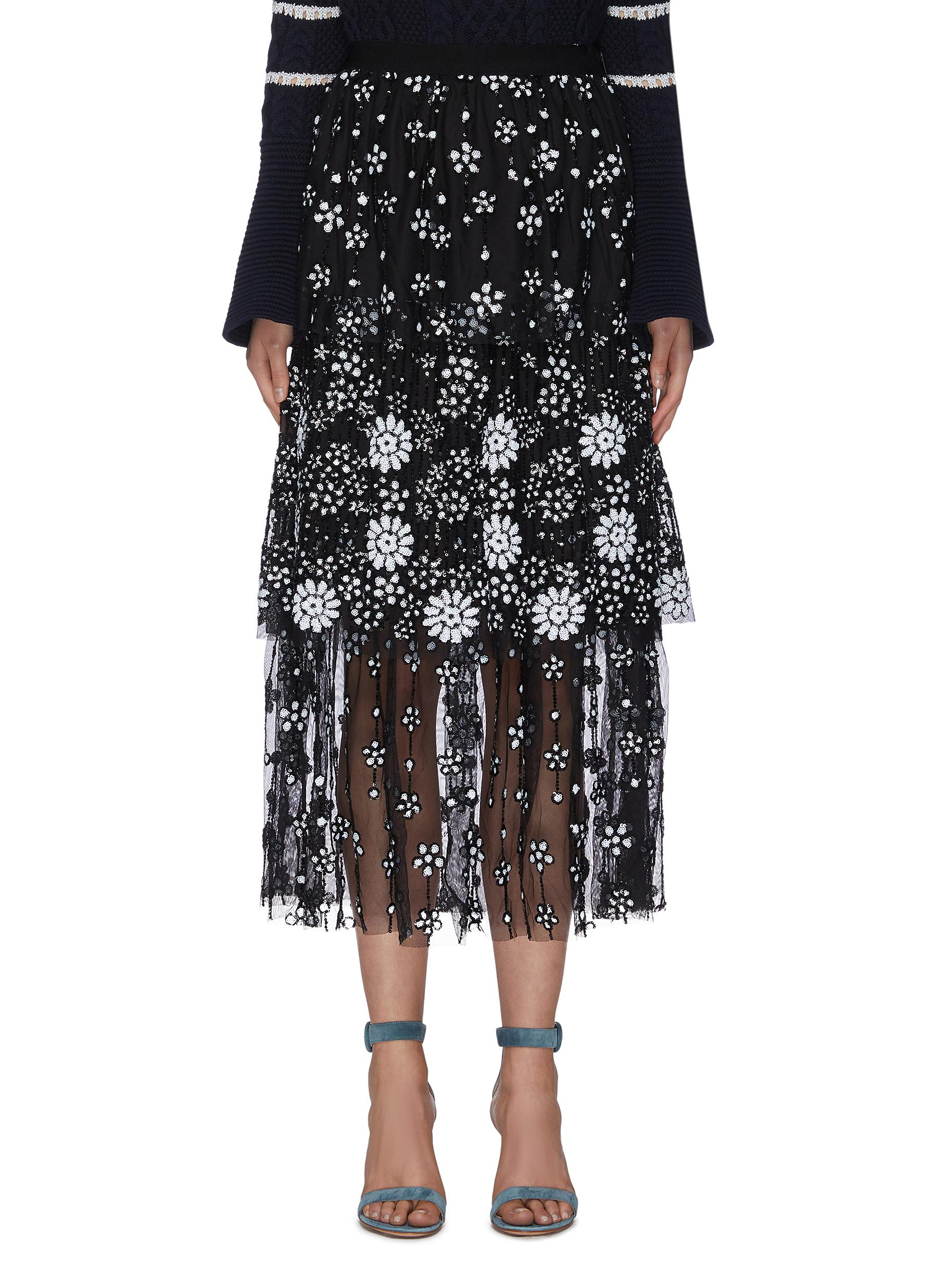 """shop Self-Portrait """"Deco' paneled sequin embellished floral skirt online"""