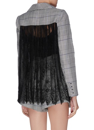 Back View - Click To Enlarge - SELF-PORTRAIT - Sheer lace back houndstooth check blazer