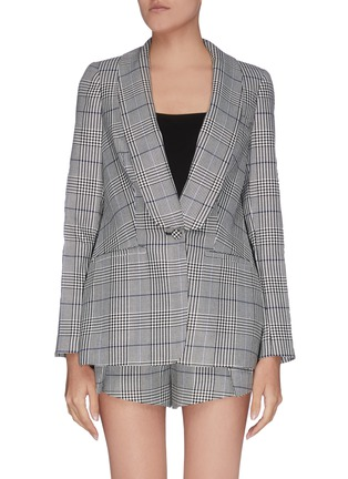Main View - Click To Enlarge - SELF-PORTRAIT - Sheer lace back houndstooth check blazer