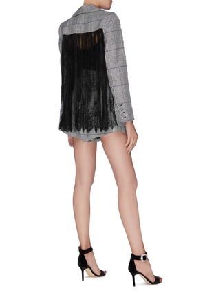 Figure View - Click To Enlarge - SELF-PORTRAIT - Sheer lace back houndstooth check blazer