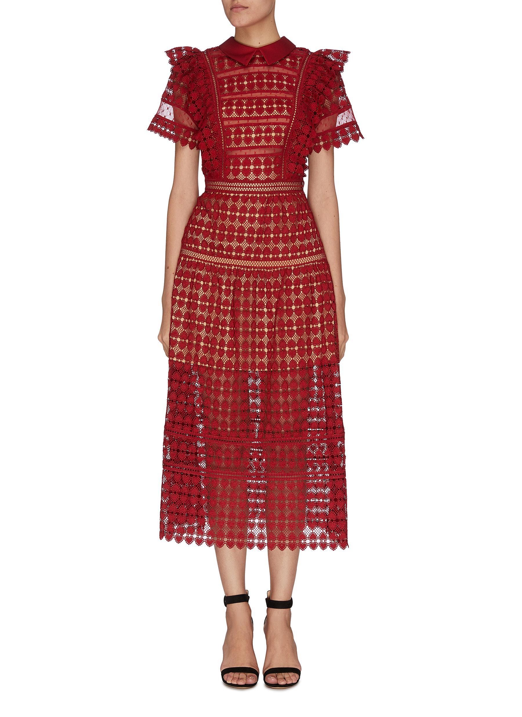 shop Self-Portrait Collar flare shoulder guipure dress online