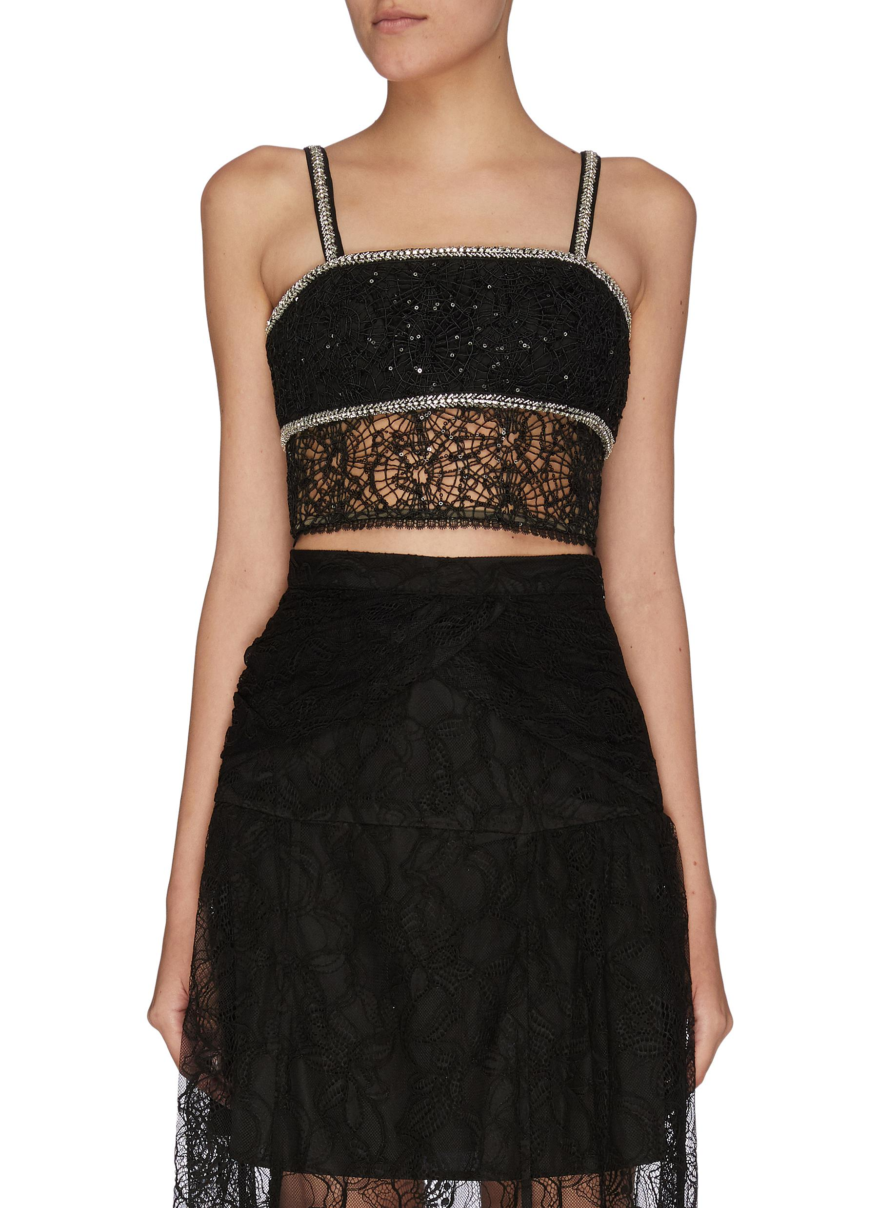 Sequin circle lace crop top - SELF-PORTRAIT - Modalova