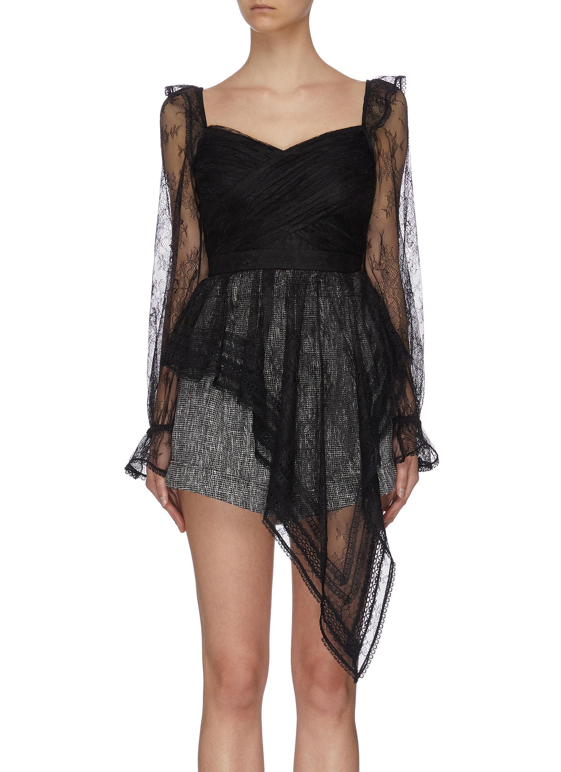Buy Self-Portrait Tops Ruffle shoulder asymmetric lace wrap top