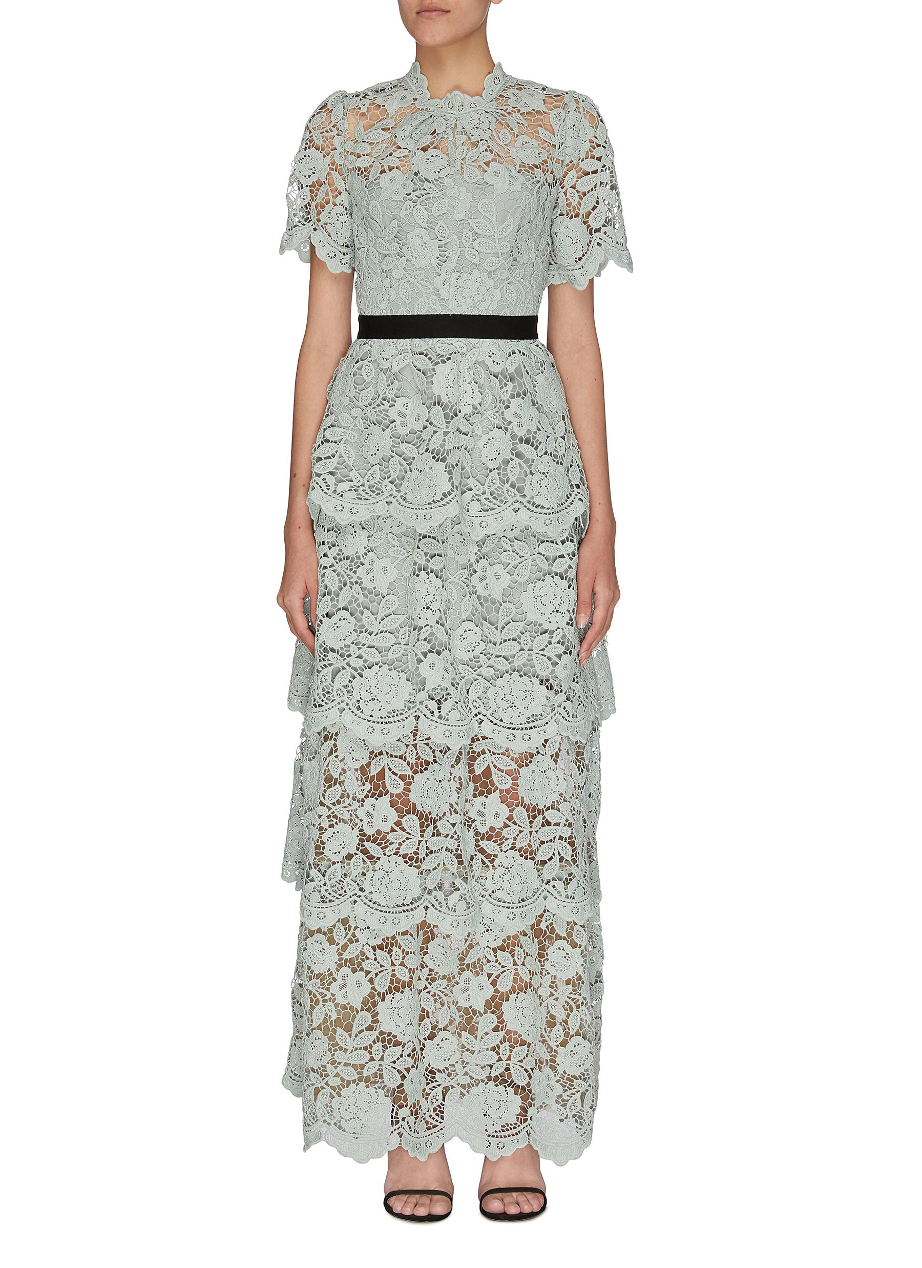 shop Self-Portrait Floral embroidered guipure lace tiered gown online