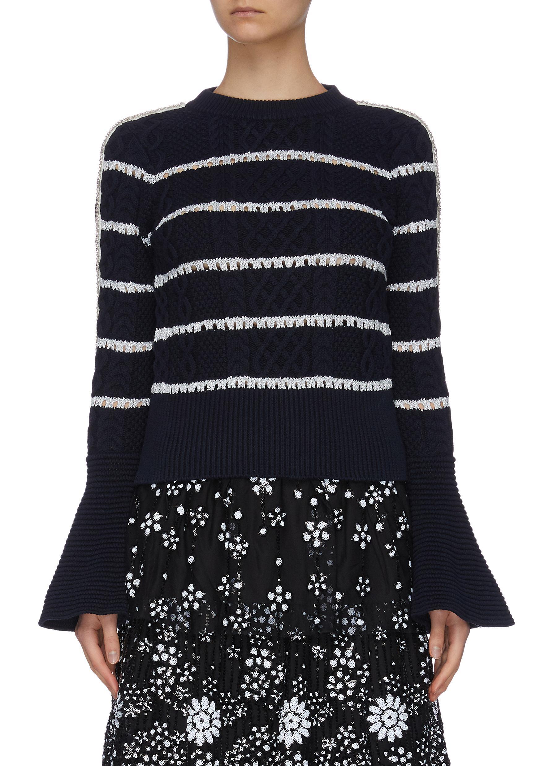 shop Self-Portrait Contrast stripe cableknit sweater online