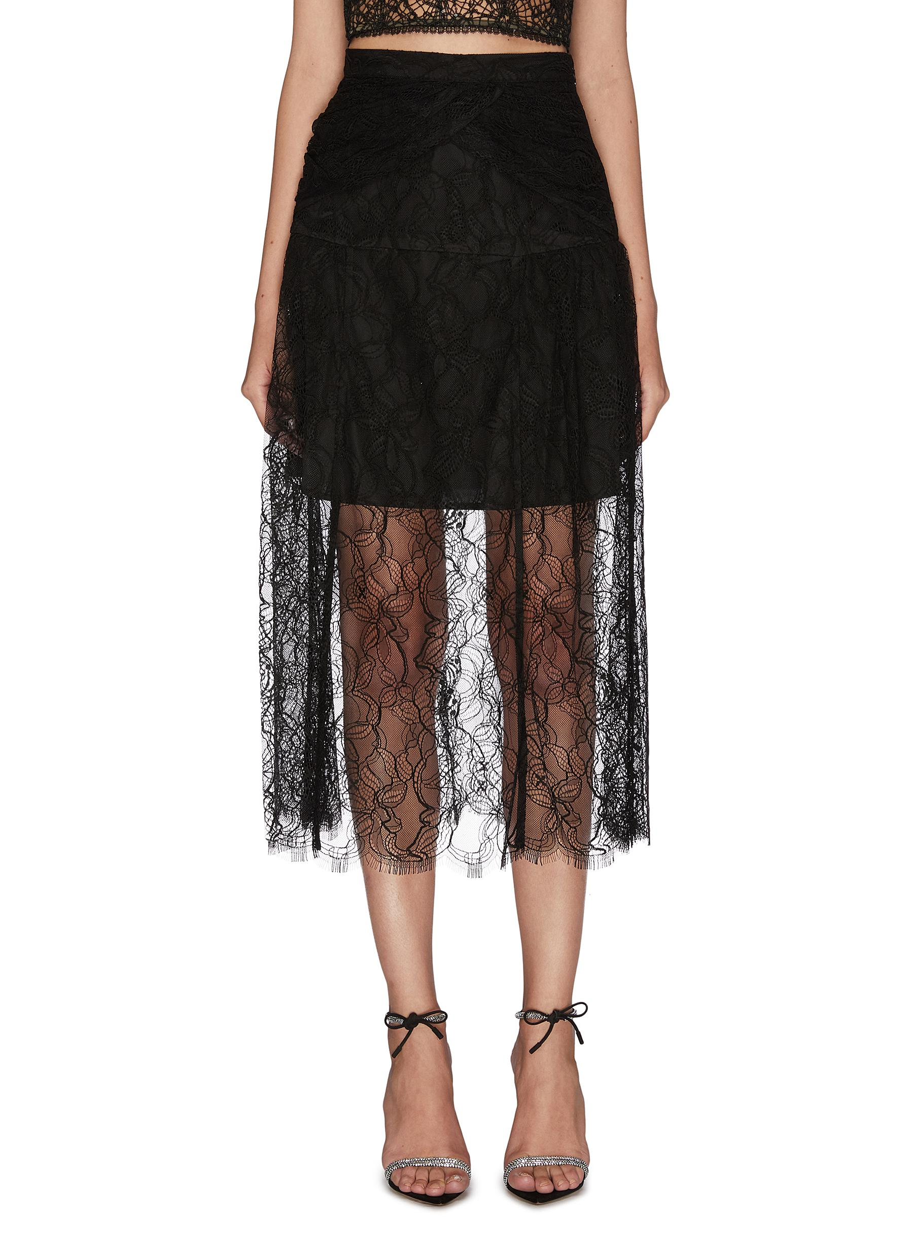 Buy Self-Portrait Skirts Lace layer wrap skirt