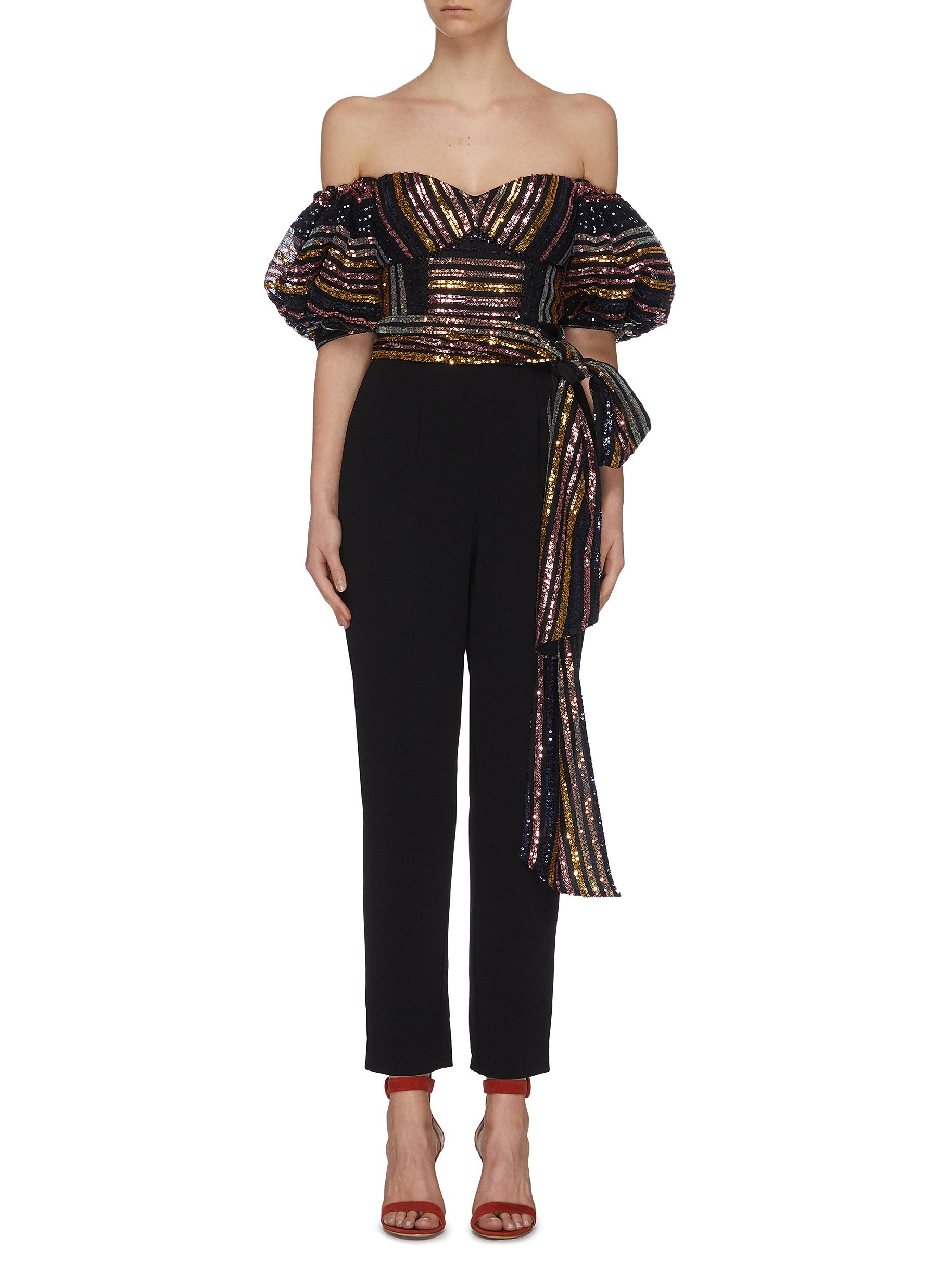 Buy Self-Portrait Pants & Shorts Stripe sequin embellished puff sleeve jumpsuit