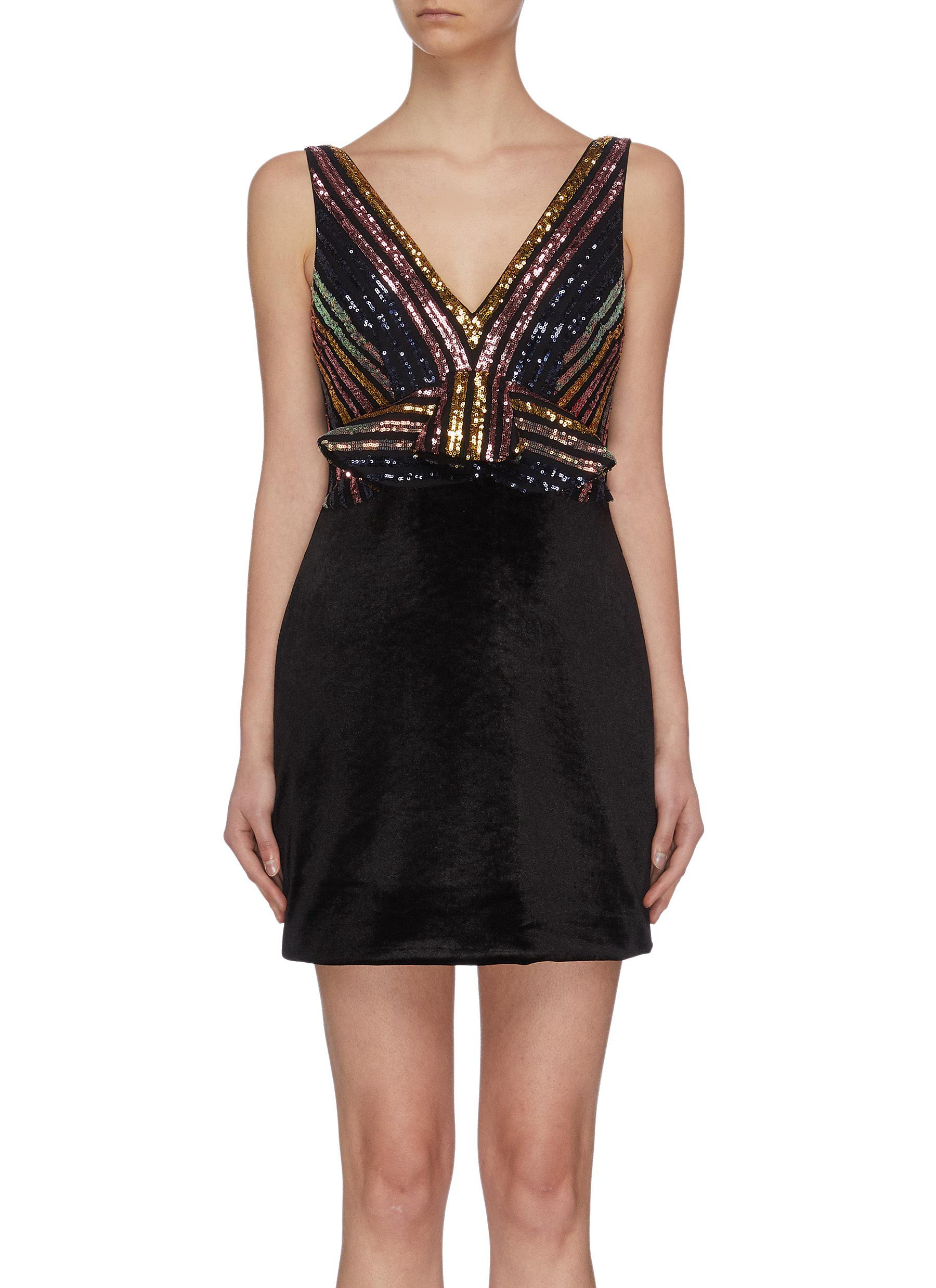 shop Self-Portrait Stripe sequin embellished mini dress online